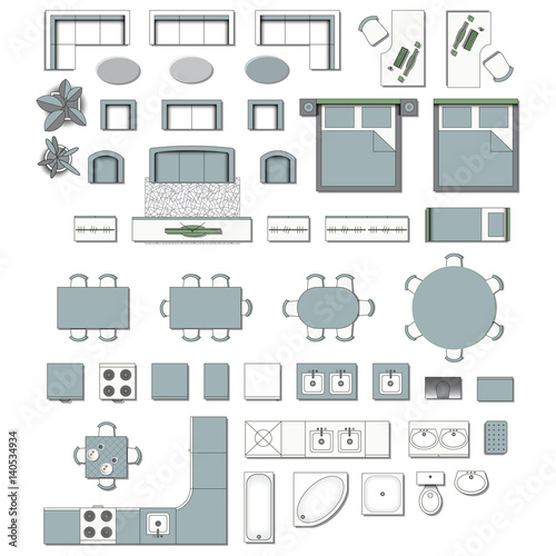 Set Top View For Interior Icon Design. Elements For Living