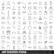 100 fashion icons set, outline style