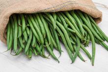 Canvas Sack Full Of Green Beans