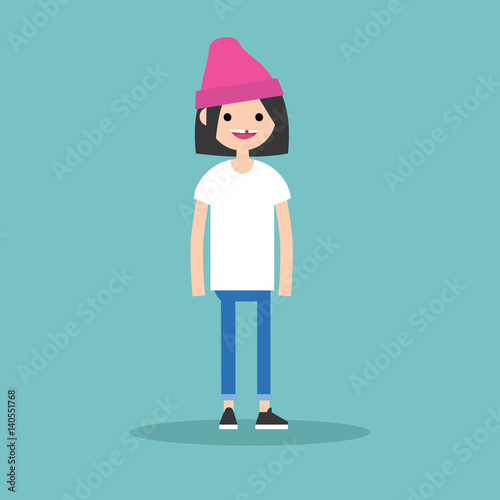 Photo  Young funny toothless brunette girl standing and smiling / flat editable vector