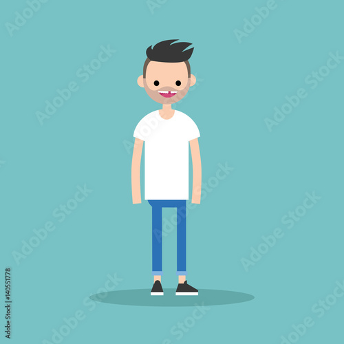 Young funny toothless bearded man standing and smiling / flat editable vector il Wallpaper Mural