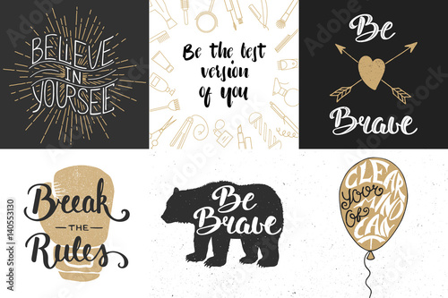 Set Of Motivational And Inspirational Vector Hand Drawn Unique Typography Greeting Cards Decoration Template Prints Banners Posters