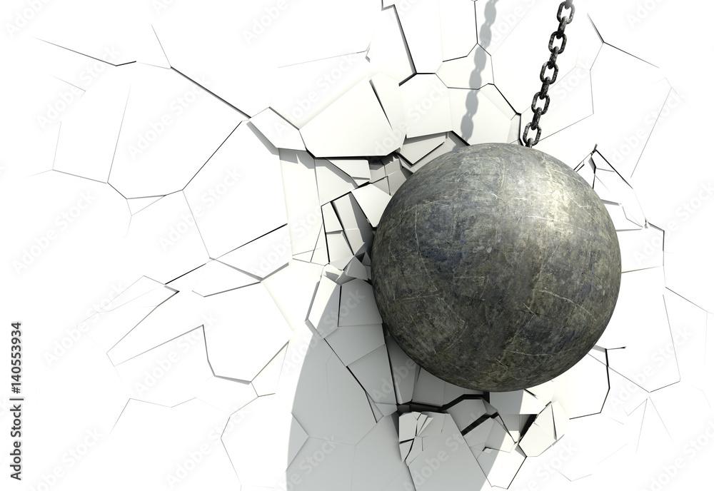 Fototapeta Metallic Wrecking Ball Shattering The White Wall