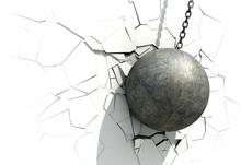 Metallic Wrecking Ball Shattering The White Wall