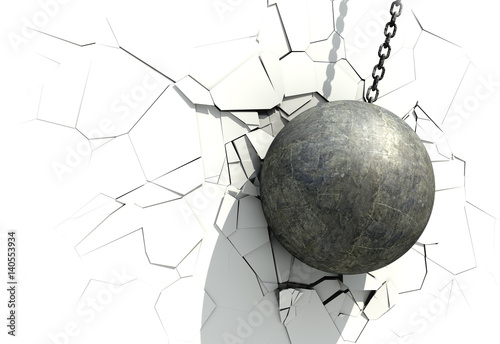 Fotomural Metallic Wrecking Ball Shattering The White Wall