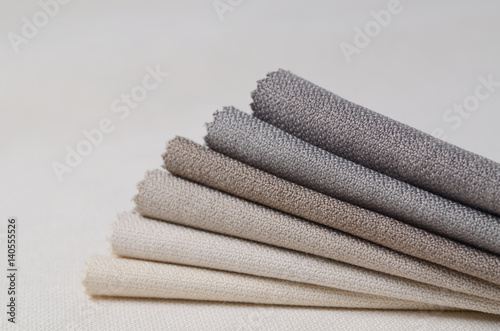 Foto op Canvas Stof Bright collection of gunny textile samples. Multicolor Fabric texture background.