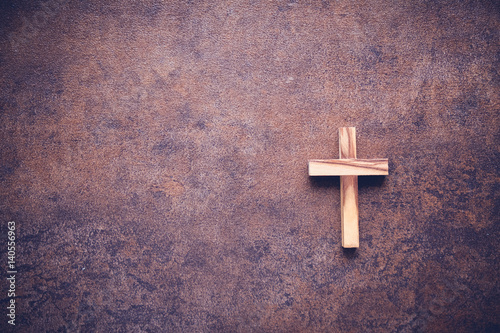 Wooden cross on dark background, Easter day, World Day of Prayer , home church, online worship, international day of prayer, hope, faith concept
