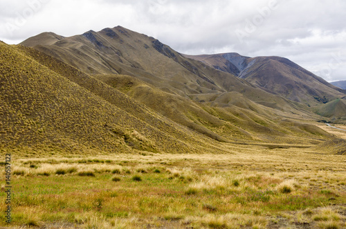Fotografia, Obraz  Tussocks and yellow rolling hills near Lindis Pass in Central Otago on the South