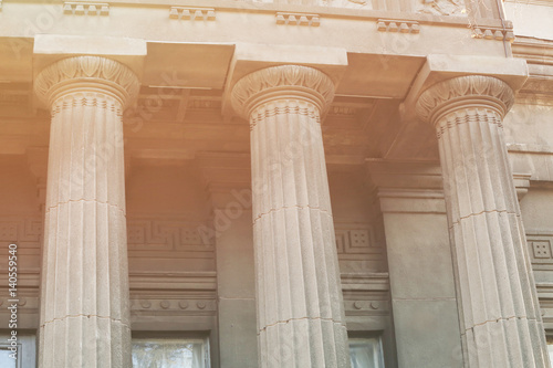 Fotografía  Closeup of building with columns in neoclassical style