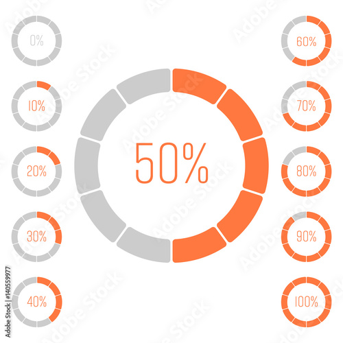 set of ring pie charts with percentage value performance analysis