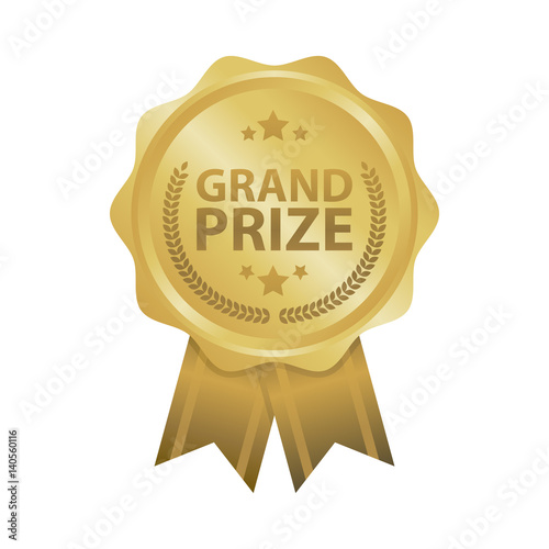 Leinwand Poster Grand prize win gold badges vector illustration