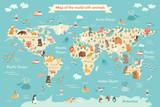 Mapa świata zwierząt dla dziecka. Światowy plakat wektor dla dzieci, uroczy ilustrowany. Kula ziemska ze zwierzętami. Oceany i kontynent: Ameryka Południowa, Eurazja, Ameryka Północna, Afryka, Australia. Mapa świata dzieci - 140562357