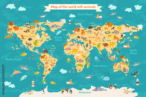 Cadres-photo bureau Carte du monde Animal map for kid. World vector poster for children, cute illustrated. Preschool cartoon globe with animals. Oceans and continent: South America,Eurasia,North America,Africa, Australia.Baby world map