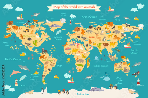 Animal map for kid world vector poster for children cute animal map for kid world vector poster for children cute illustrated preschool cartoon gumiabroncs Choice Image
