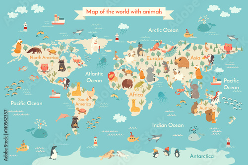 Animals world map for kid. World vector poster for children, cute ...