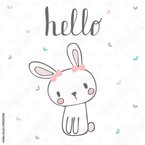 card with hello text for little girl template for