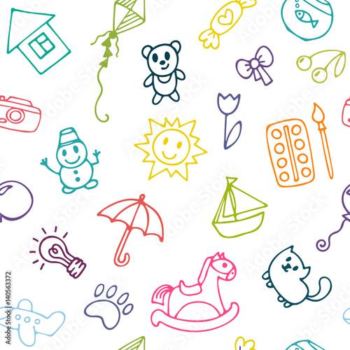 doodle-dzieci-rysunek-tlo-bezszwowy-wzor-dla-slicznych-malych-dziewczynek-i-chlopiec-szkic-zestaw