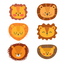 Set Of Cute Lions. Funny Doodle Animals. Little Lion In Cartoon Style