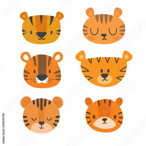 Set of cute tigers Canvas Print