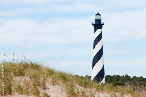 In de dag Vuurtoren Cape Hatteras Lighthouse seen from beach NC USA