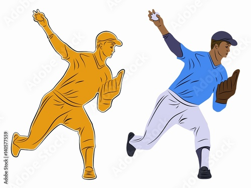 Photo  silhouette of a baseball player, vector draw. vector illustration