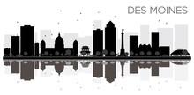 Des Moines City Skyline Black ...