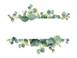 Fototapeta Kwiaty - Watercolor green floral banner with silver dollar eucalyptus leaves and branches isolated on white background.