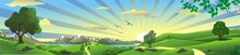 Panorama Of Nature - The Rising Of The Sun On Earth. Mountain, River, And Hills With Trees. Vector Illustration