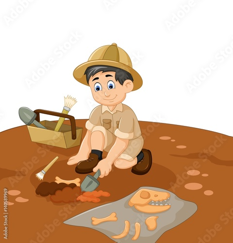 cute man Archaeologists cartoon searching fossil Wallpaper Mural