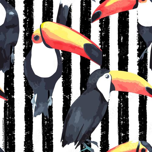 Materiał do szycia Jednolity wzór z tropikalnych ptaków - Tukan na tle pasiasty. Ilustracja wektorowa akwarela