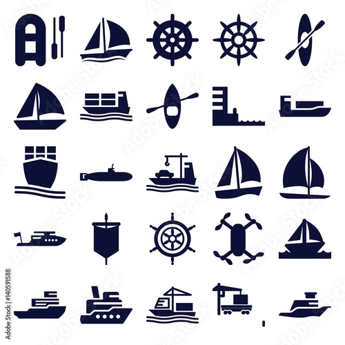 Set of 25 boat filled icons