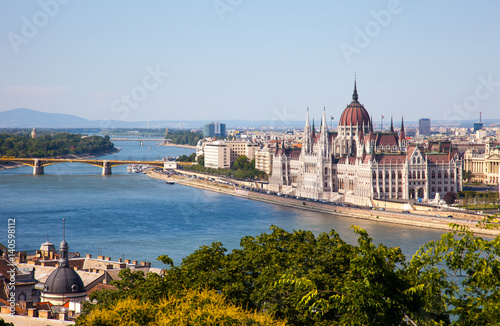 Aluminium Prints Budapest Hungarian Parliament in a sunny day