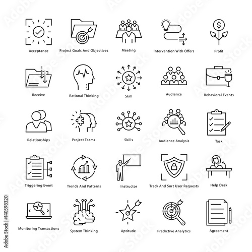 Business Management and Growth Vector Line Icons 40 Wallpaper Mural