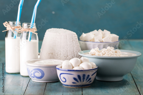 Sensational Tasty Healthy Dairy Products On A Table On A Blue Background Beutiful Home Inspiration Semekurdistantinfo