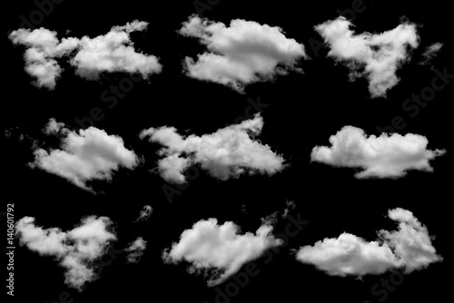 Tuinposter Hemel Collection of white cloud on black background