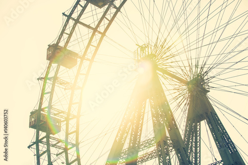 Deurstickers Wenen Retro Filter Of Fun Park Ferris Wheel In Prater Park Of Vienna