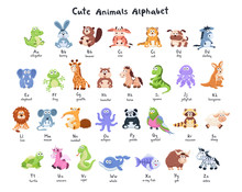 Funny Characters Alphabet. Cute Cartoon Baby Animals Collection With Latin Letters Isolated On White Background.
