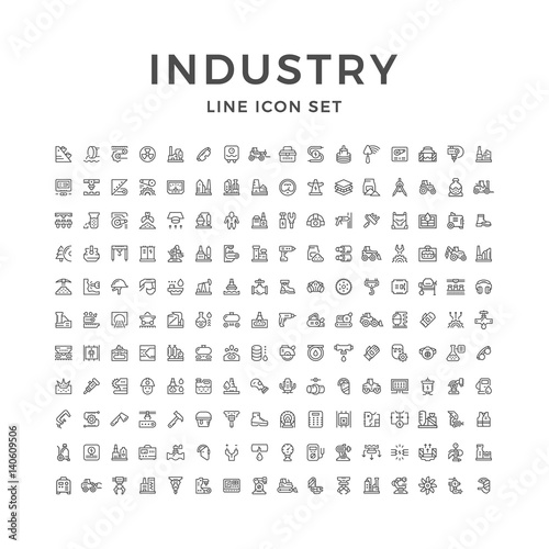 Set line icons of industry Wall mural