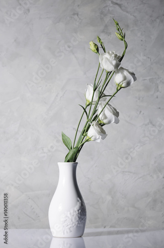 beautiful flowers in white vase Wallpaper Mural