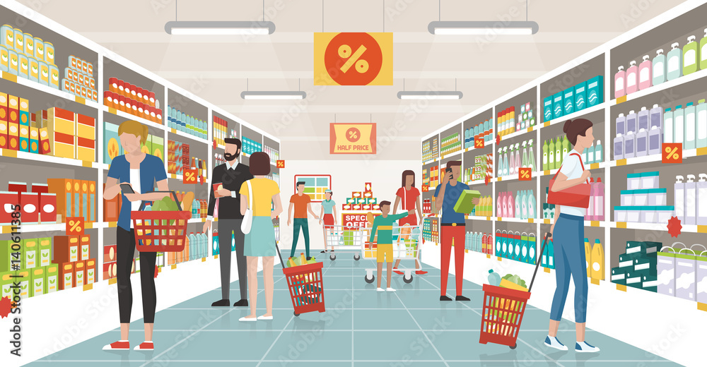 Fototapeta People shopping at the supermarket