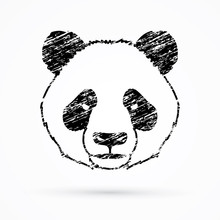 Panda Head Face Front View Designed Using Grunge Brush Graphic Vector.