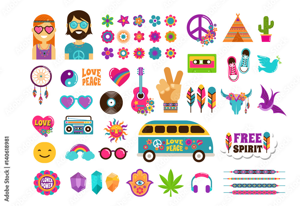 Fotografía Hippie, bohemian design with icons set, stickers, pins, art fashion chic patches