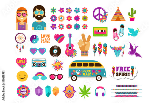 Fotomural Hippie, bohemian design with icons set, stickers, pins, art fashion chic patches