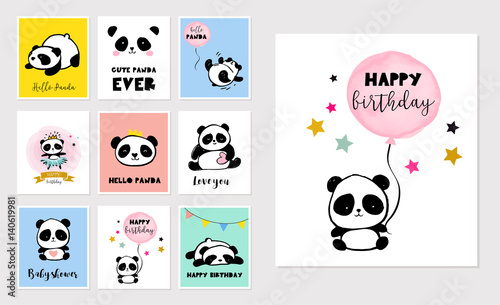 Cute Panda bear illustrations, collection of colorful simple style birthday gree Wallpaper Mural