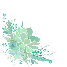 Beautiful Floral Corner Frame With Succulents Isolated On White. Vector Illustration.