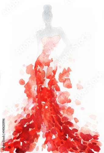 Canvas Prints Watercolor Face Woman with elegant dress. Fashion illustration. Watercolor painting