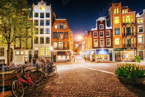 Photo  Beautiful calm night view of Amsterdam city