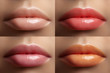 Beautiful lip collection. Fashion sexy make-up set with female plump lips. Fashion variant for makeup. Naturale pale set