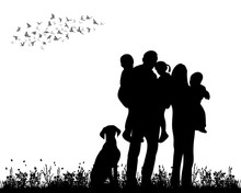 Silhouette Family Walking On G...