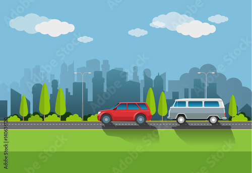 In de dag Lime groen Vector illustration, urban atmosphere with a vehicle on the highway as well as the background of tall buildings.